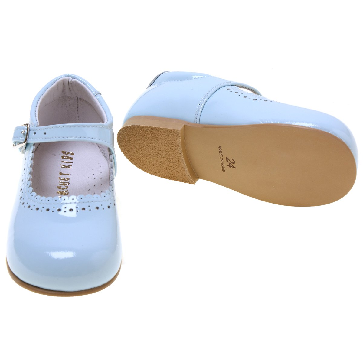 d2b594fb6f5 Toddler Girls Baby Blue Patent Mary Jane Shoes Scallop Edge