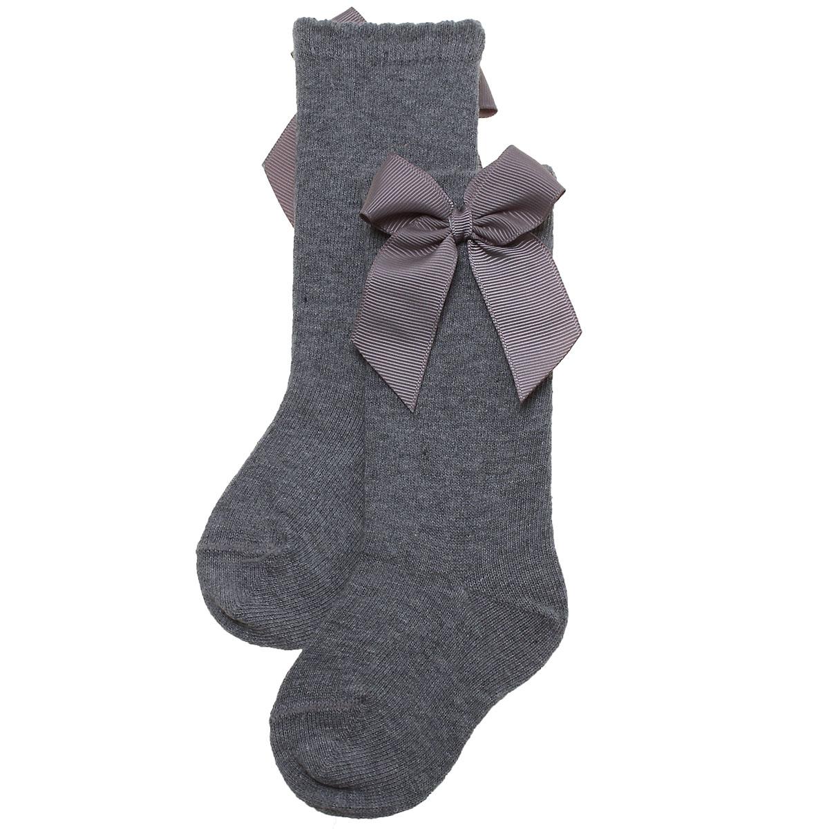 4e88b16a704c6 Grey Colour Girls Knee High Gros Grain Bow Socks | Cachet Kids