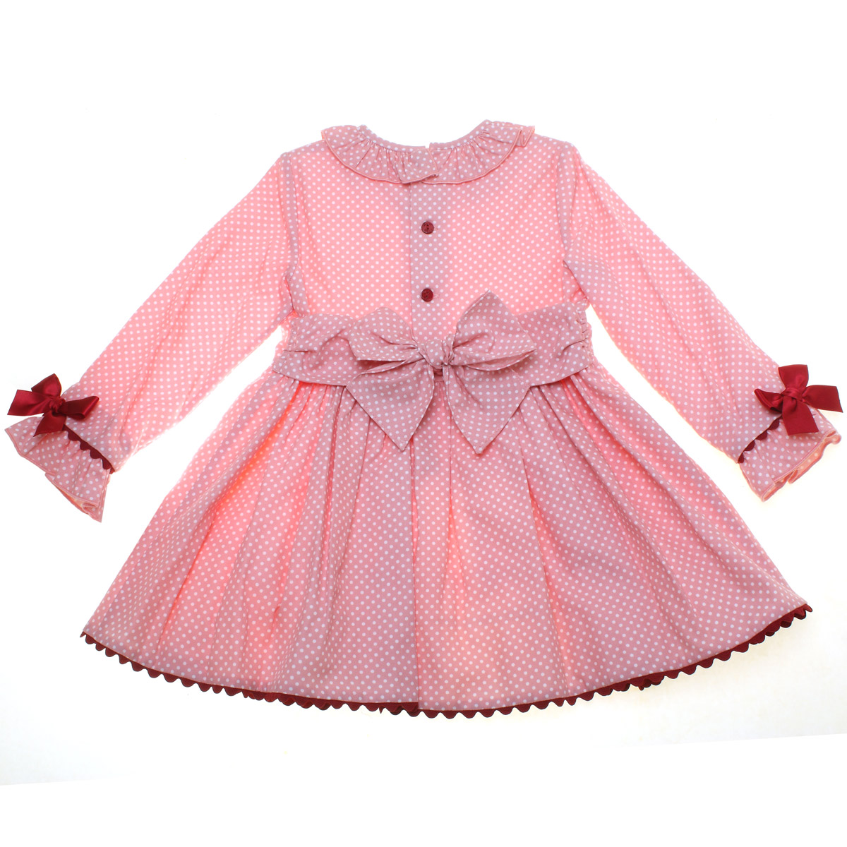 ceb9d6acf Dolce Petit Girls Pink and White Polka Dress With Red Bows and Red ...