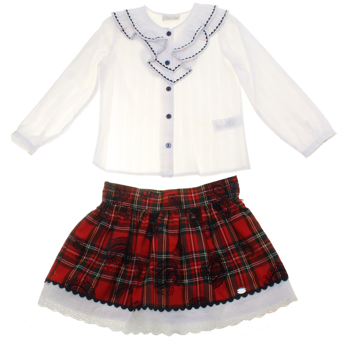 30fab0ffb8 Dolce Petit Girls White Blouse Red Tartan Skirt Outfit 3 Years To 12 Years.  Double tap to zoom