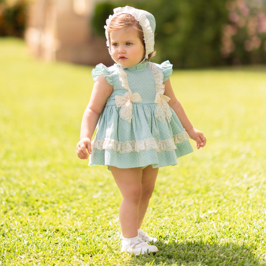 cb3565c64 2019 Spring Summer Dolce Petit Baby Girls Aqua Green Blue Dress Set