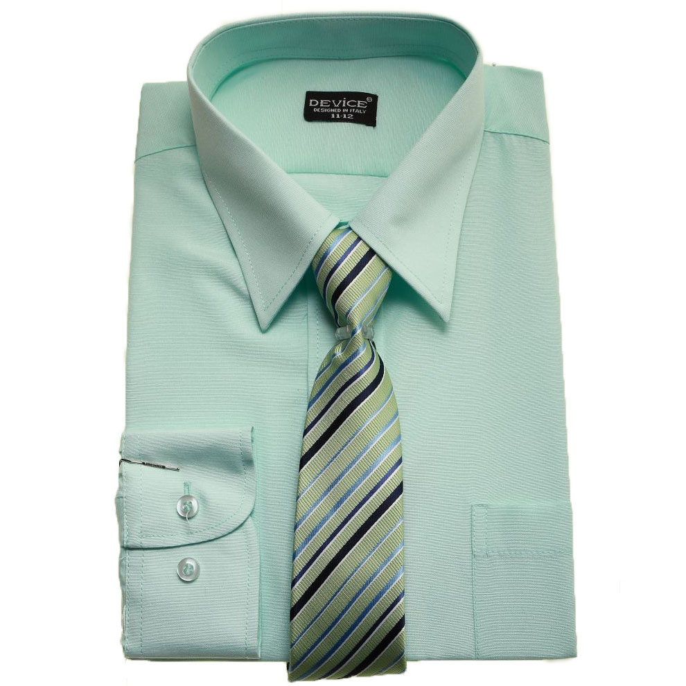 boys Formal Shirt In Light Green Mint With Tie | Cachet Kids
