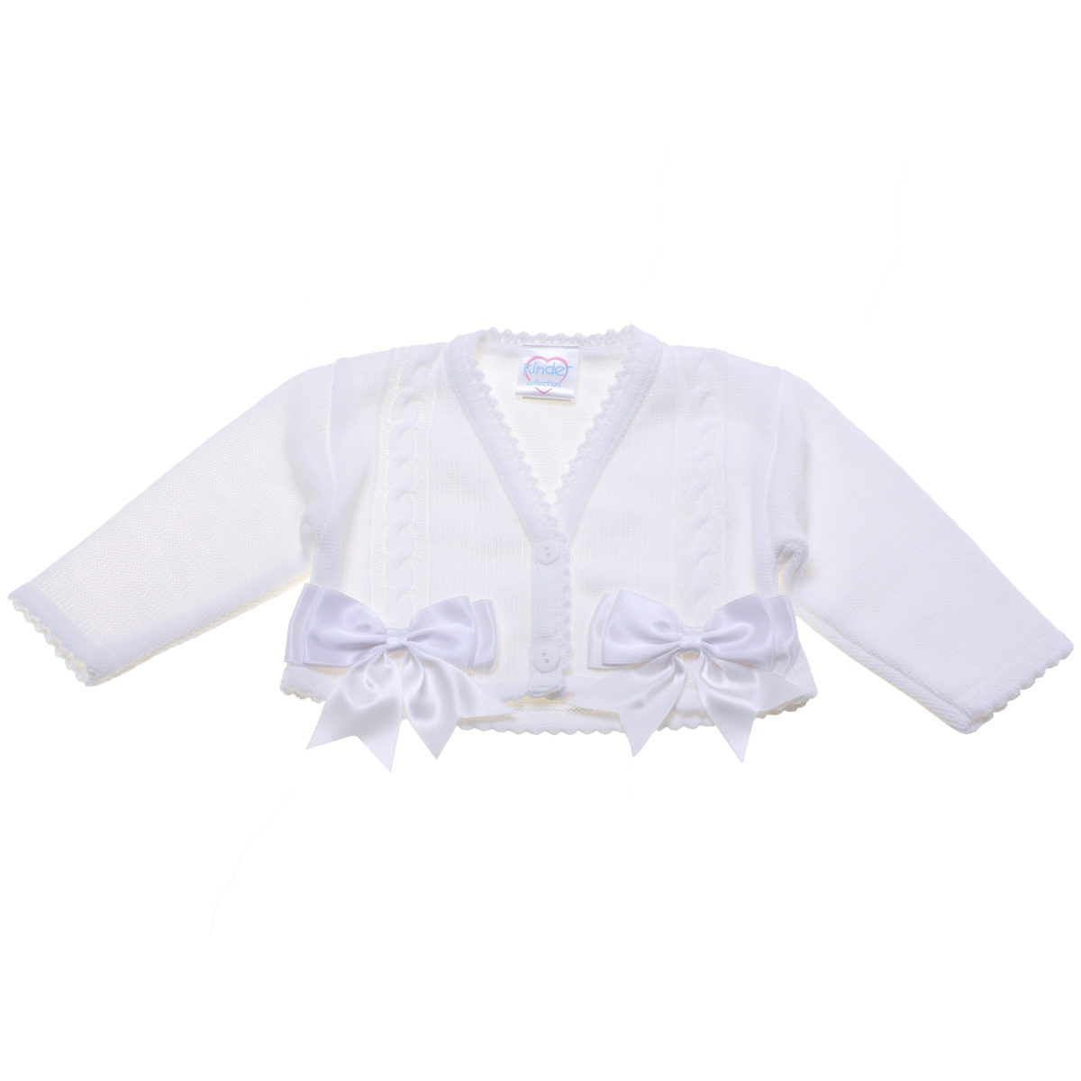Baby Girls Double Bows White Cardigan