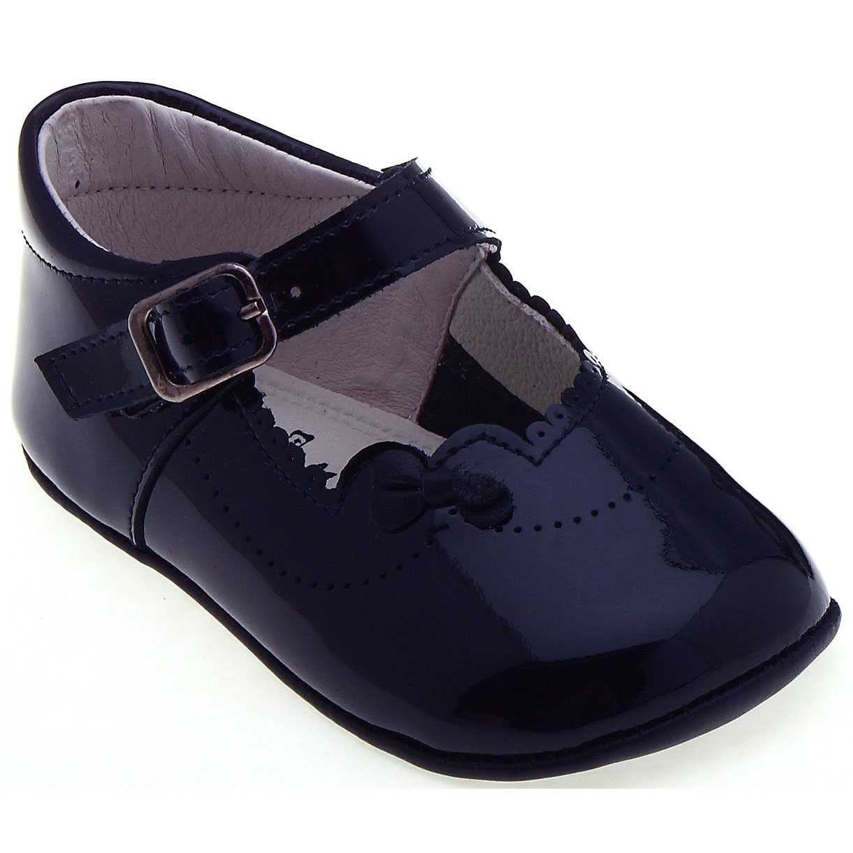 Baby Girls Navy Pram Shoes in Patent Leather