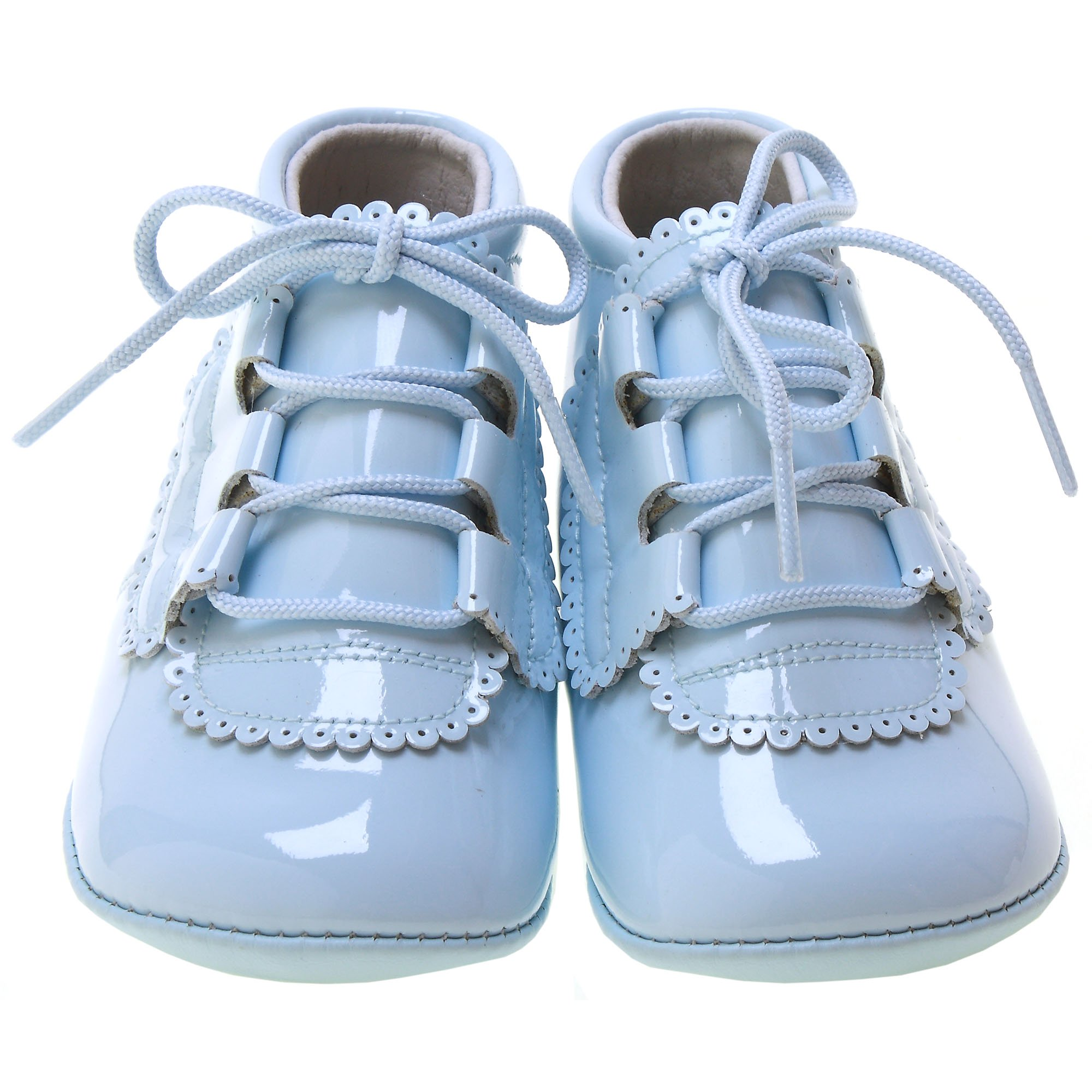 Baby Boy Blue Patent Pram Shoes Leather Scallop