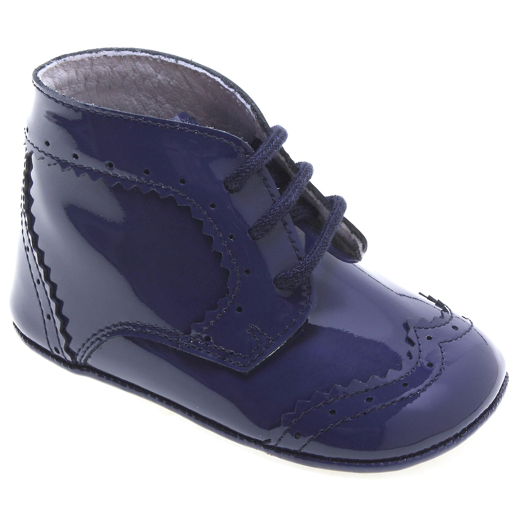 Baby Boys Light Navy Patent Pram Shoes
