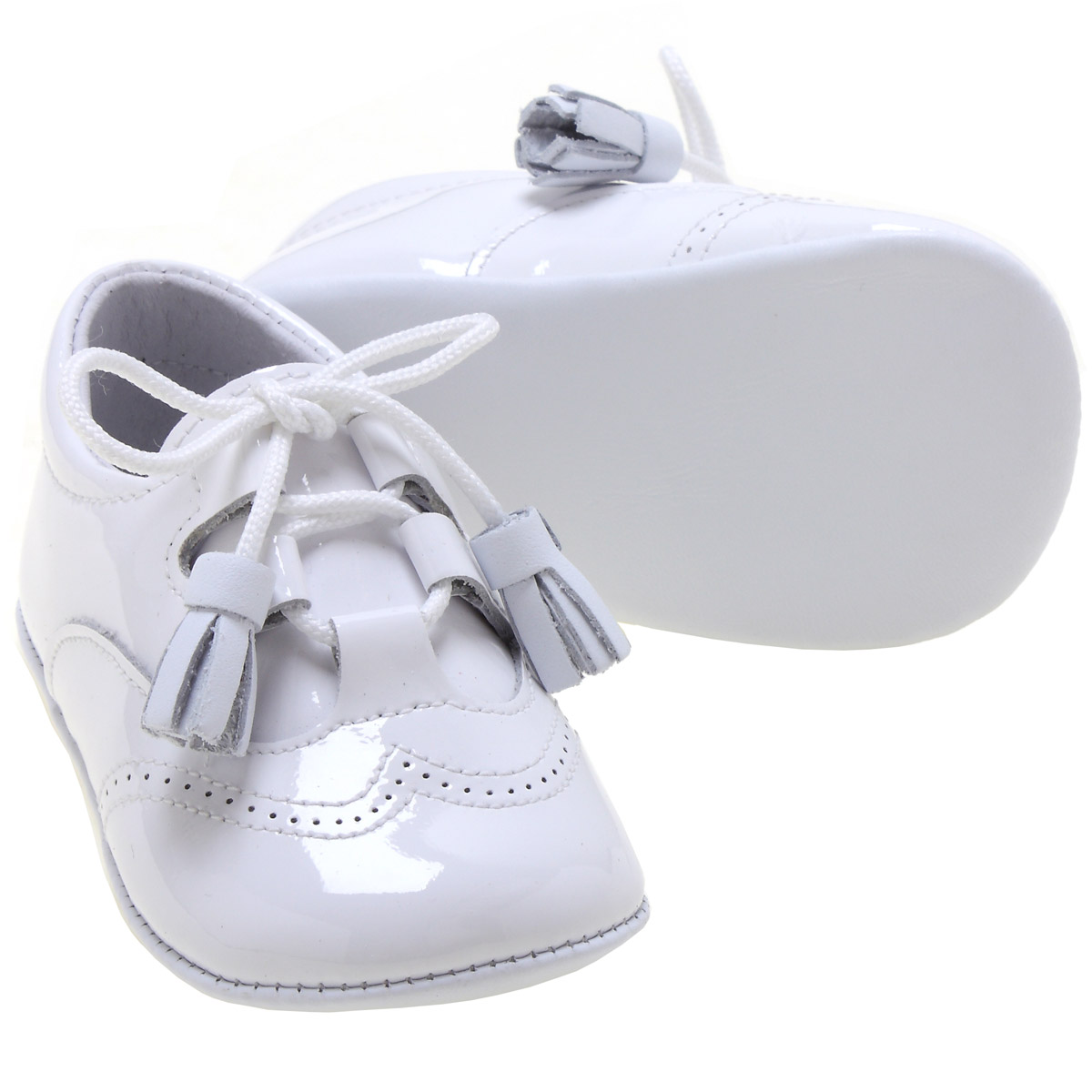 Baby Boys White Patent Shoes With Tassels Cachet Kids