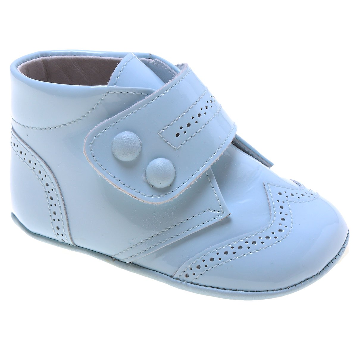 a21e35bdd273 Baby Boys Velcro Strap Blue Patent Shoes. Double tap to zoom
