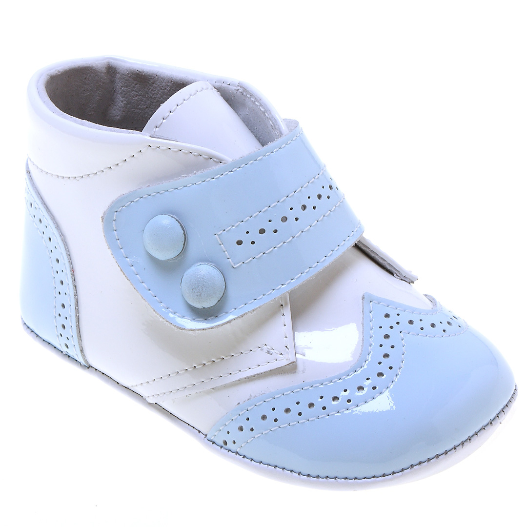 Baby Boys High Ankle Support Baby Blue And White Patent ...