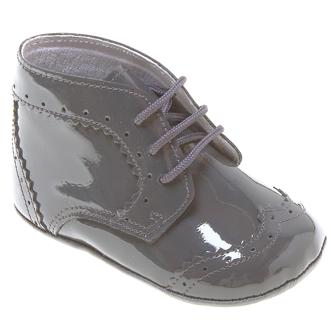 Baby Boys Lace Up Grey Shoes In Patent Leather