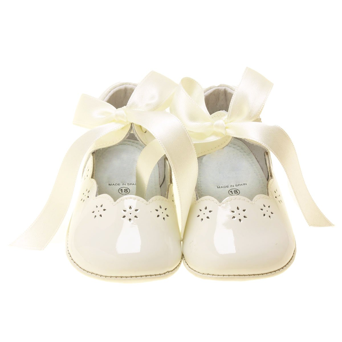 Hand made Spanish Baby Girls Ivory Patent Leather Shoes