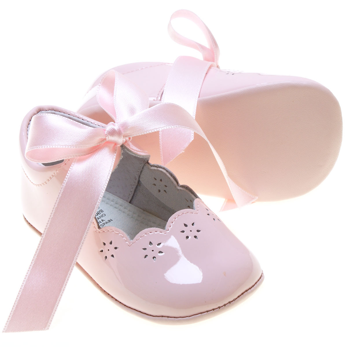 Spanish Baby Girls Pink Patent Leather Shoes Ribbons