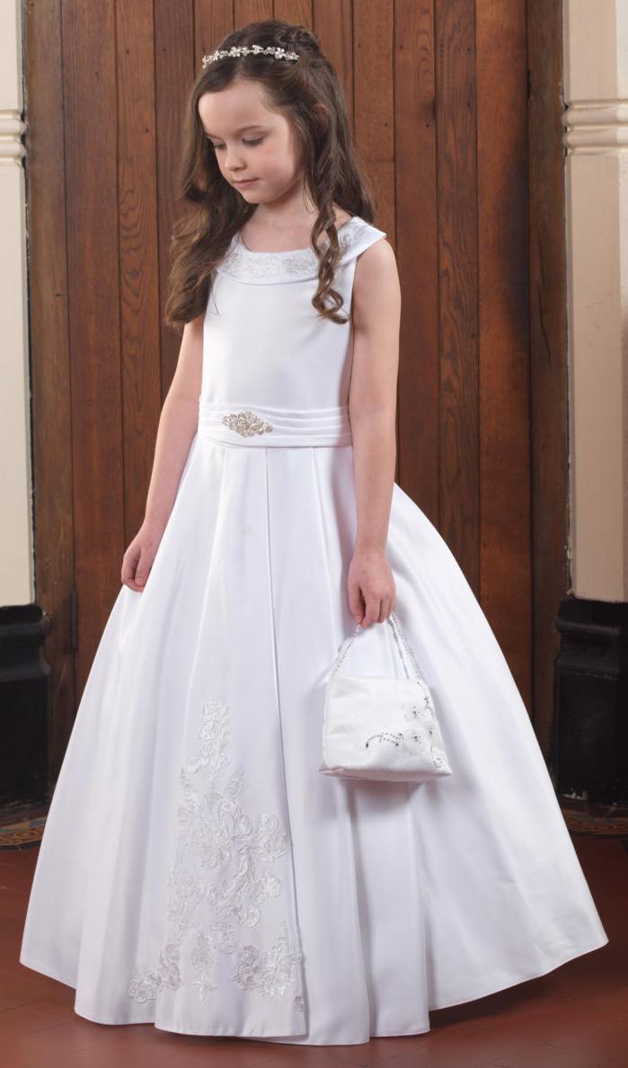 a723126e Linzi Jay Style Niamh Girls White Satin First Holy Communion Dress ...