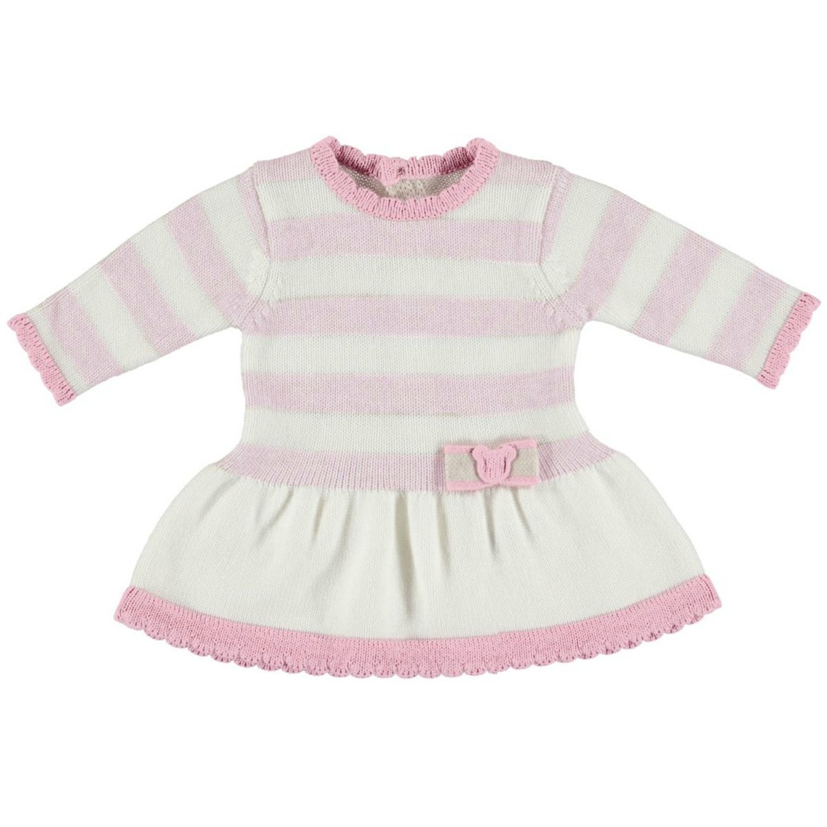 89f591cbf631 Mayoral Baby Girls Knitted Dress In Ivory And Pink Stripes From 2017 ...