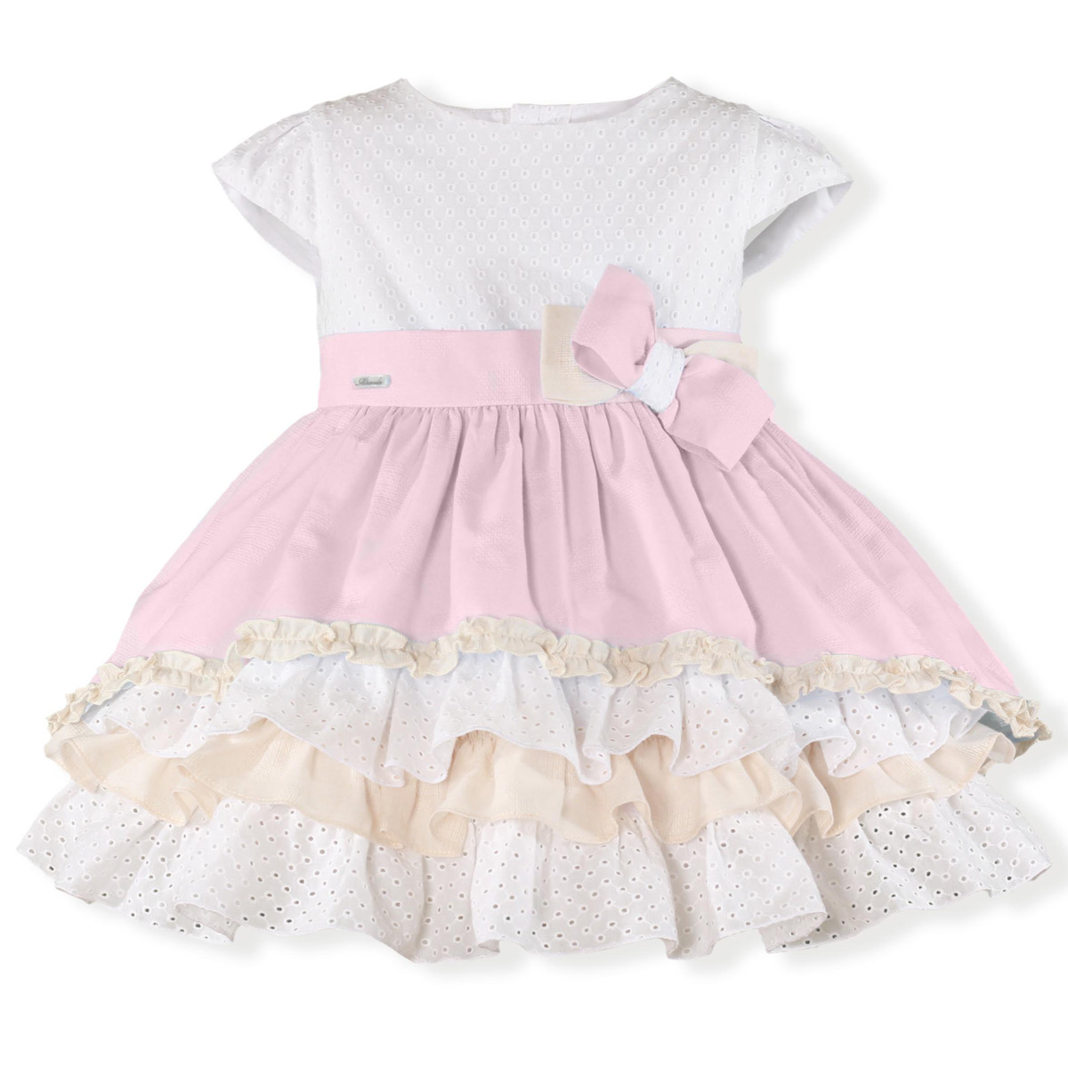 1d48b57b8 Miranda Spring Summer Girls Pink White Frilly Dress Large Bow. Double tap  to zoom