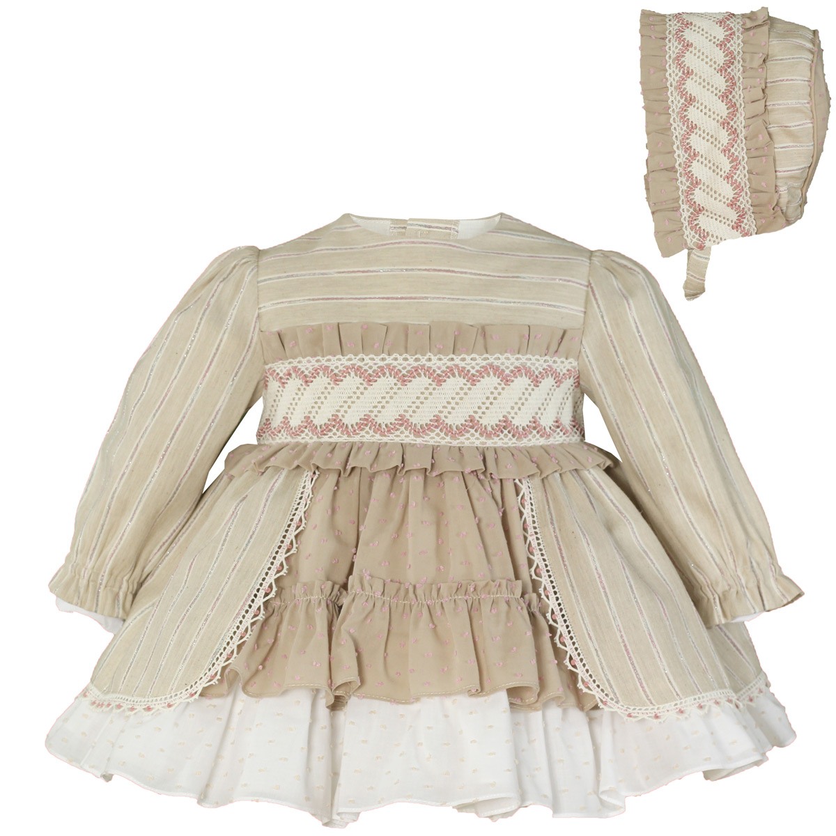 Baby dress and bonnet.