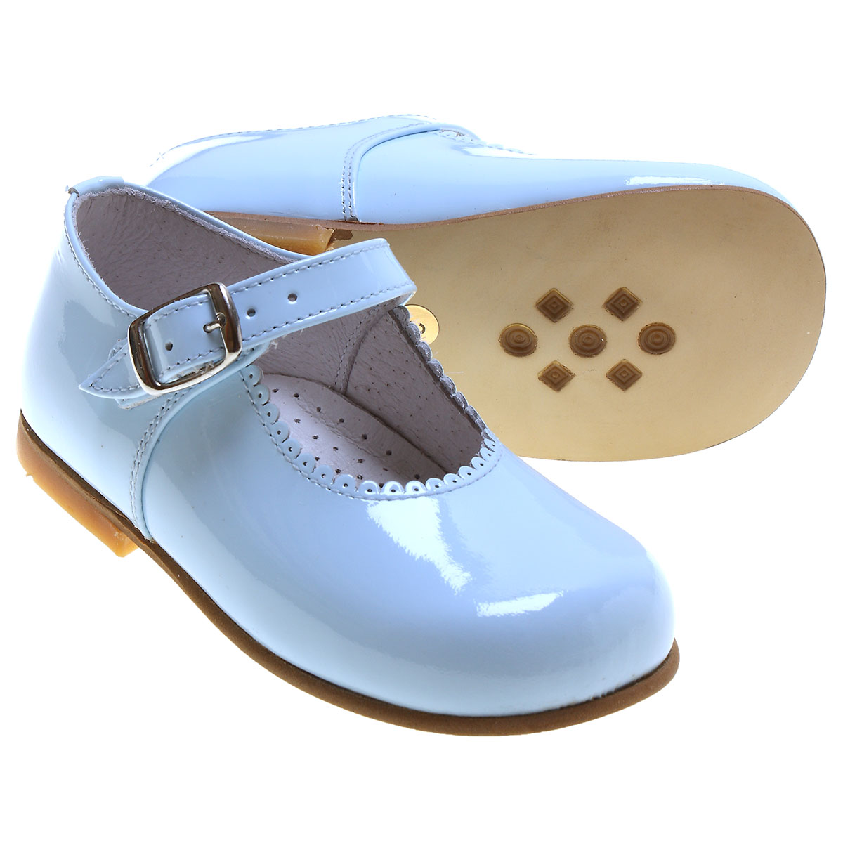 Girls Baby Blue Patent Mary Jane Shoes Scallop Rim ...