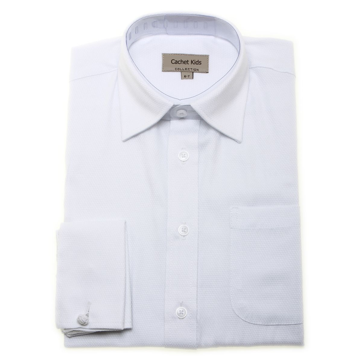 Boys White Cufflinks Shirt With Double Cuff And Cufflinks