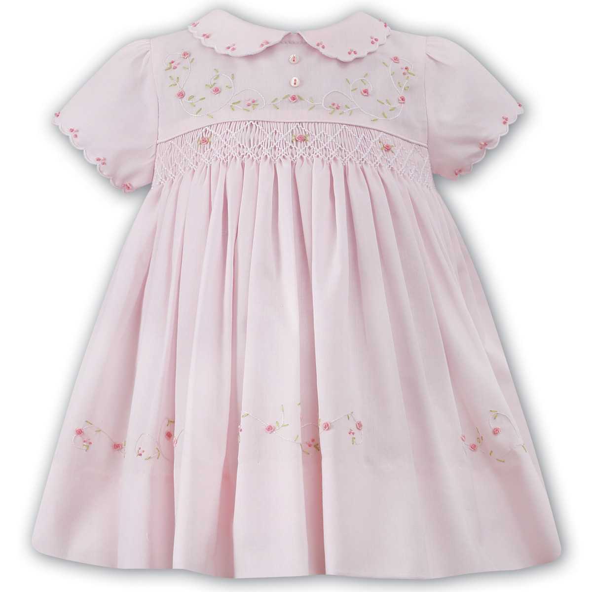 Sarah Louise Baby Pink Smocked Dress With Embroideries ...