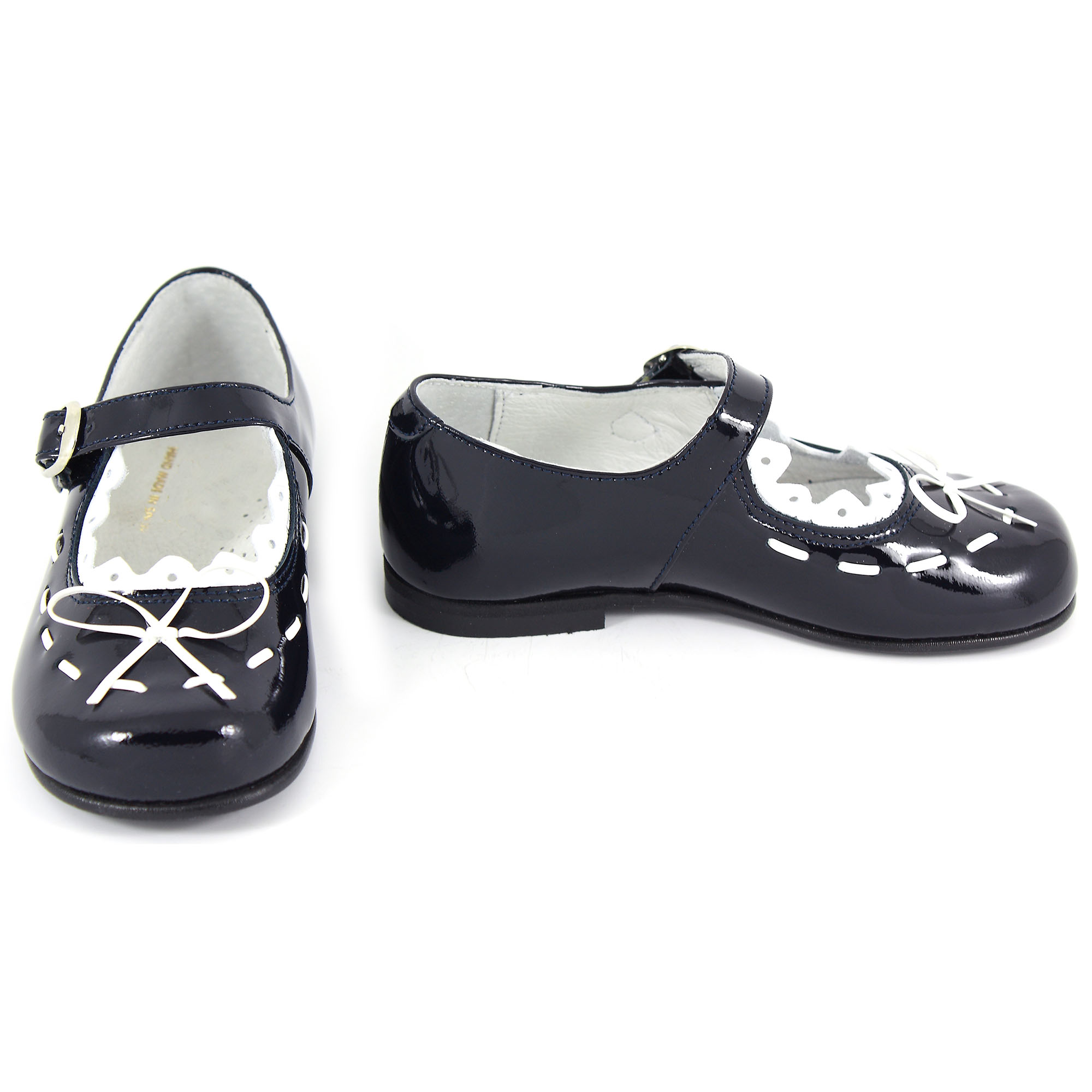 Girls Navy And White Patent Shoes Cachet Kids