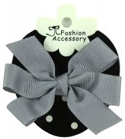 Boutique Hair Bow In Grey