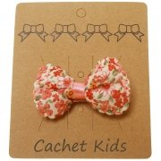 Pink On White Floral Hair Bow