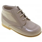 Boys Light Grey Boots In Patent Leather