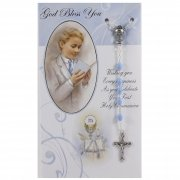 Communion Card And Blue Rosary Set