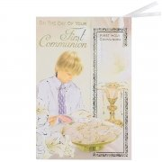Boys First Communion Card With Detachable Bookmarker
