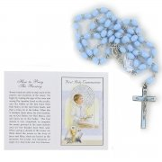Blue Rosary in Gift Box with Instruction Card For First Holy Communion Gift