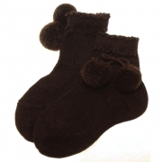 Pom pom socks in dark brown