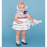 Dolce Petit Baby Girls White Navy Ruffle Dress With Bonnet Set