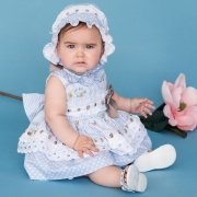 Dolce Petit Baby Girls Blue Dress White Lace Caramel Bow With Bonnet