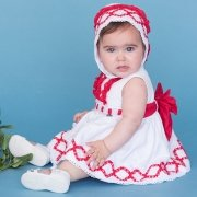 Dolce Petit Baby Girls White Dress Red Frills Red Bow And Bonnet