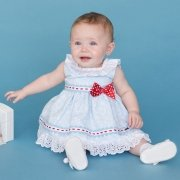 Dolce Petit Baby Girls Blue Floral Dress White Lace Red Bow