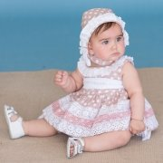 Dolce Petit Baby Girls Blush Pink White Polka Dots Dress With Bonnet And Panty
