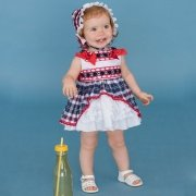 Dolce Petit Navy White Gingham Wit Bonnet Red Bows Red Lace