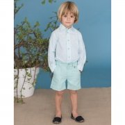Dolce Petit Boys Mint Green Stripes Shirt And Shorts Set