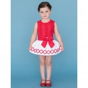 Dolce Petit Girls Red Frilly Top White Skirt Outfit