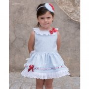 Dolce Petit Girls White Blue Floral Dress Red Bows