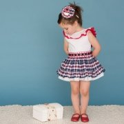 Dolce Petit Girls White And Navy Red Gingham Dress