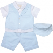 Blue White Linen Boys Christening Outfit