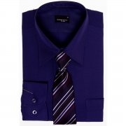 High Quality Boys Purple Shirt with Tie Set