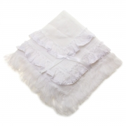 Frilly White Shawl With Embroidred Flower Trim