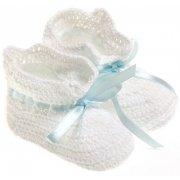 Baby boys Crochet bootees in white with blue lace ribbon