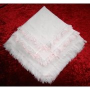 Frilly shawl in white with pink lace trims