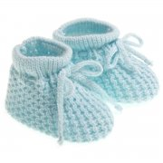 Newborn baby soft knitted booties in blue