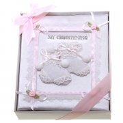 Baby girls soft christening album book
