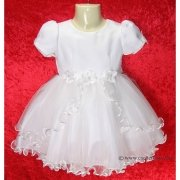Baby Girls Christening Dress In White or Ivory With Bonnet