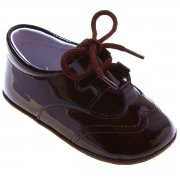 Baby Boys Chocolate Brown Patent Brogue Style Pram Shoes